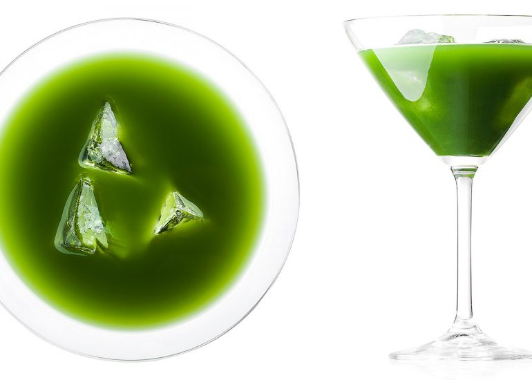 Matcha Tea drink in martini glass photographed by Roman Mlejnek