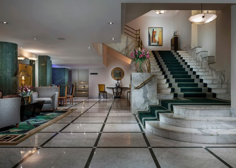Hotel Alcron interior and exterior photography by Roman Mlejnek, lobby stairs