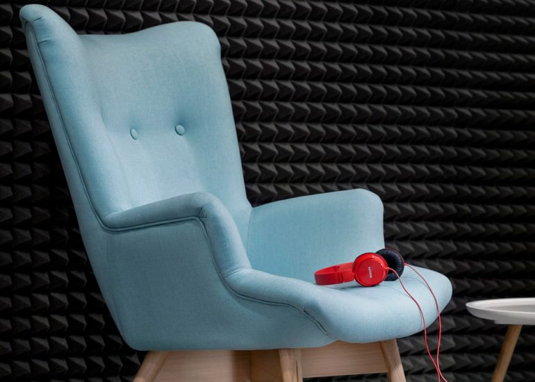 Interior design photography for Bonami furniture by Roman Mlejnek, chair with red headphones