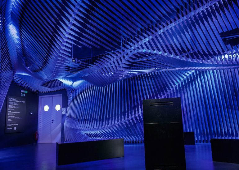 Interior photography of Slovacke museum by Roman Mlejnek, blue.