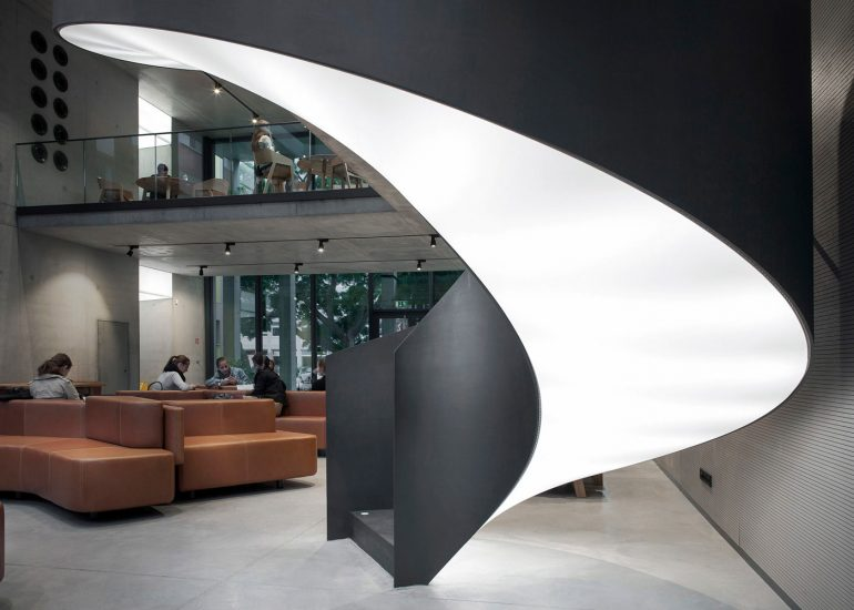Czech University of Life Sciences interior for Barrisol by Roman Mlejnek, detail of staircase.
