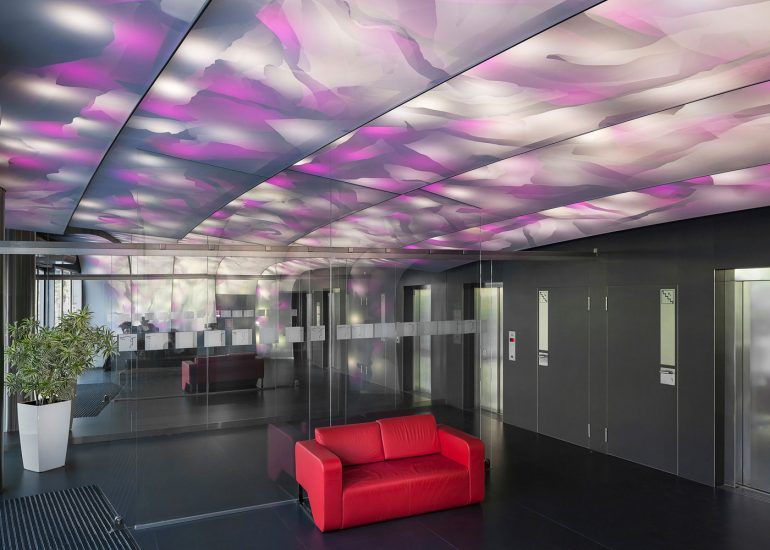 Interior photography of Zlaty Andel office building by Roman Mlejnek, stretched ceiling.