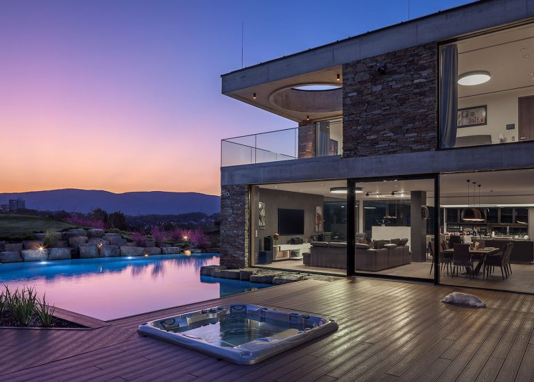 modern architecture villa at dusk